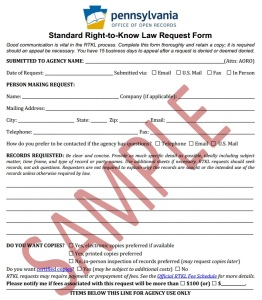 Standard RTKL Request Form (Sample)